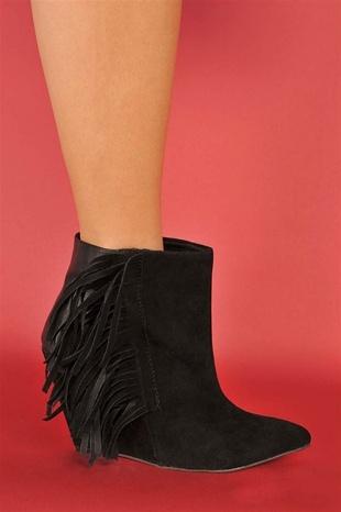 black fringe booties.