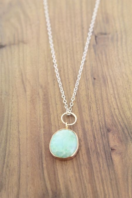 Blue Opal Necklace - 14k and silver