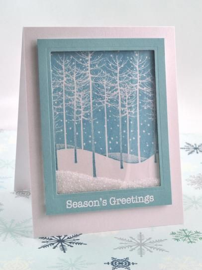 Falling snow glitter shaker card ~ HGTV project by Debbie Olson