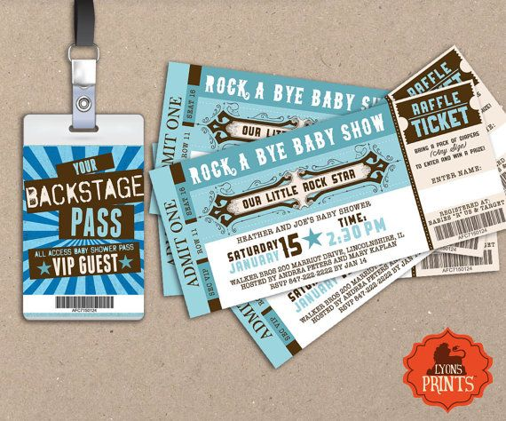 ROCK STAR concert ticket baby shower by LyonsPrints on Etsy @tiffintx - What ya think?