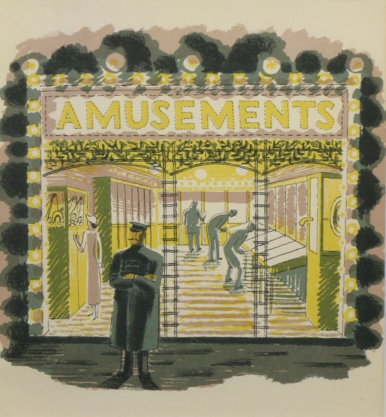 'Amusement Arcade' Eric Ravilious. Chromolithograph, Curwen Press, 1938. Image 140 x 149 mm. From J. M. Richard's and Eric Ravilious' 'High Street' (Country Life Books). Eric Ravilious (1903-1942. English painter, wood-engraver and designer.