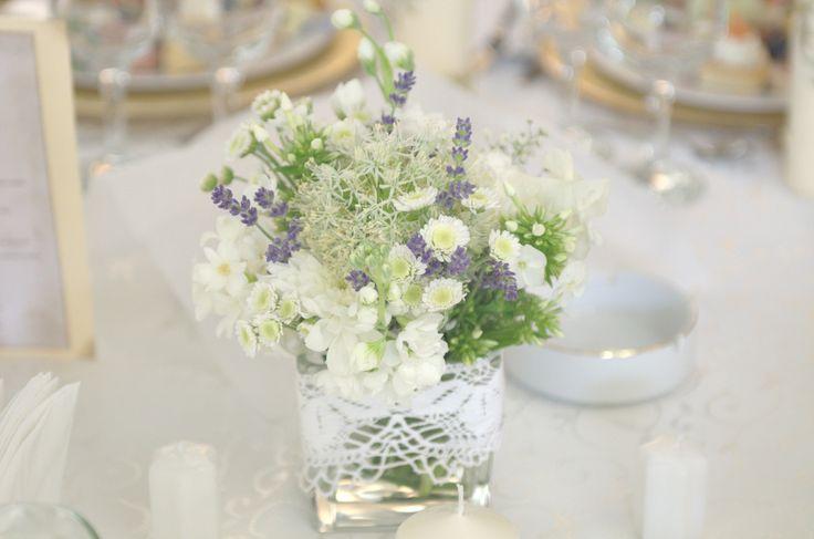 Lavender and lace centerpiece