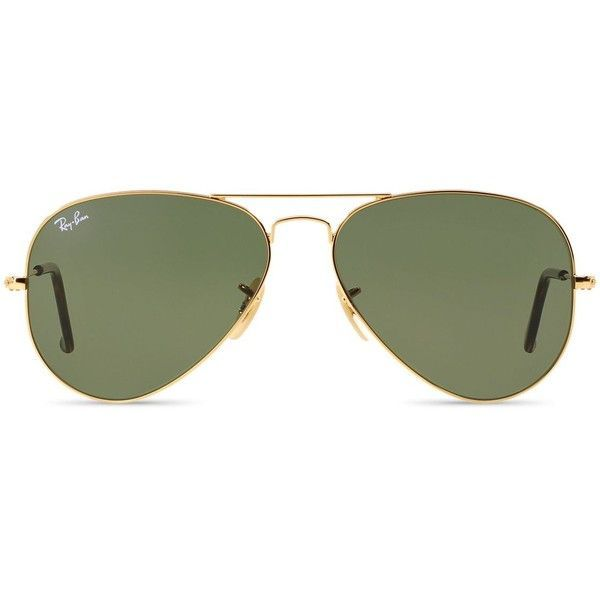 Ray-Ban Aviator Sunglasses, 58mm (£130) ❤ liked on Polyvore featuring accessories, eyewear, sunglasses, glasses, green, green aviator sunglasses, green sunglasses, ray ban sunglasses, aviator sunglasses and ray ban glasses