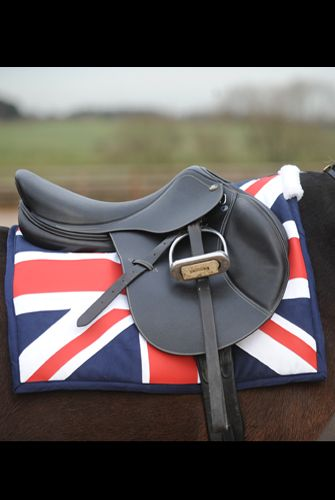 John Whitaker Union Jack Saddle Pad ~ My love of horses bloomed while living in England & I watched the Whitaker's at competitions. Would love this!