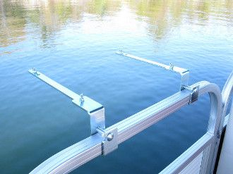 "Pontoon 1.25"" rail mount bracket set for your BBQ grill. Enjoy your own BBQ grill mounted to your pontoon boat railing. Material is Solid Zinc electro-plated steel. Fits 1.25"" Square tube boat rails."