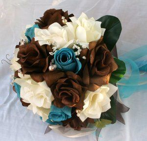 brown and turquoise wedding   21 PC Wedding Set Turquoise and Chocolate Brown   eBay