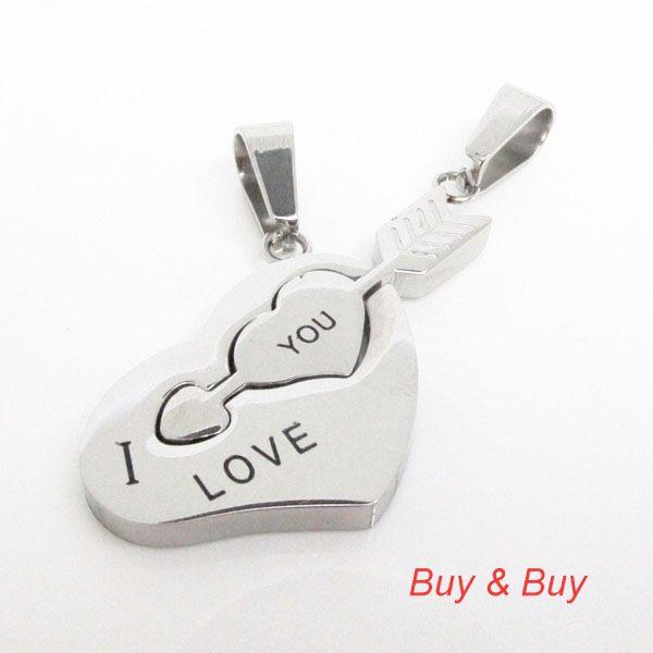 Нержавеющая сталь пара кулон, Любовник в форме сердца стрелка кулон с necklacke, Qlp-742a, Золото / серебро цвет, 5 pairs/lot