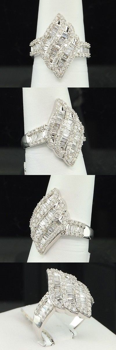 Wedding rings: 14K Ladies White Gold Baguette Cut Diamond Engagement Ring Wedding Band 1 Ct. BUY IT NOW ONLY: $899.99