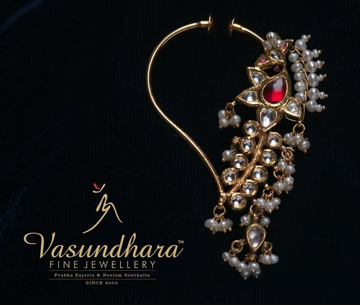 The alluring nose ring from #VasundharaFineJewellery can spruce up any traditional attire. Do visit our showroom to view more designs on display. Call to book appointment 9874939393, visit our website for more details www.vfjindia.com