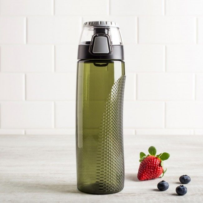 Ensure you stay hydrated with the Thermos Intak Hydration Sport Bottle. This BPA-free plastic bottle features a rotating intake meter on the lid, allowing you to easily monitor your daily water consumption. A single hand, flip top, push button lid makes it easy to take a sip while preventing accidental spills while on the go.