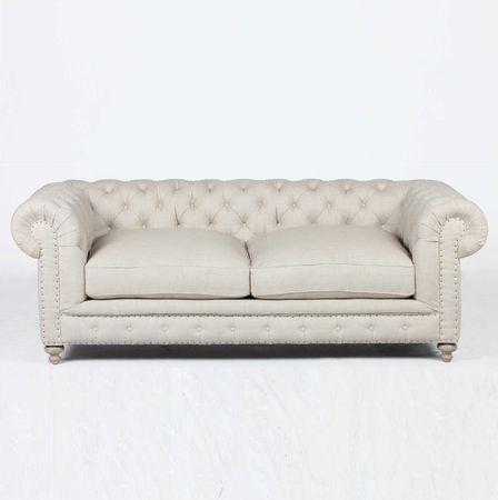 "Finn Cigar Club 77"""" Tufted Linen Upholstered Chesterfield Sofa"