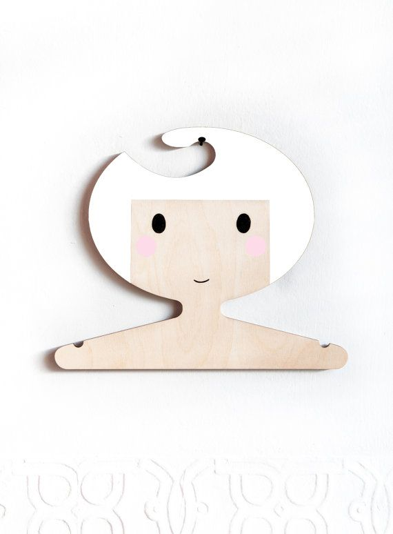 White haired plywood hand painted children's hanger by RedHandGang