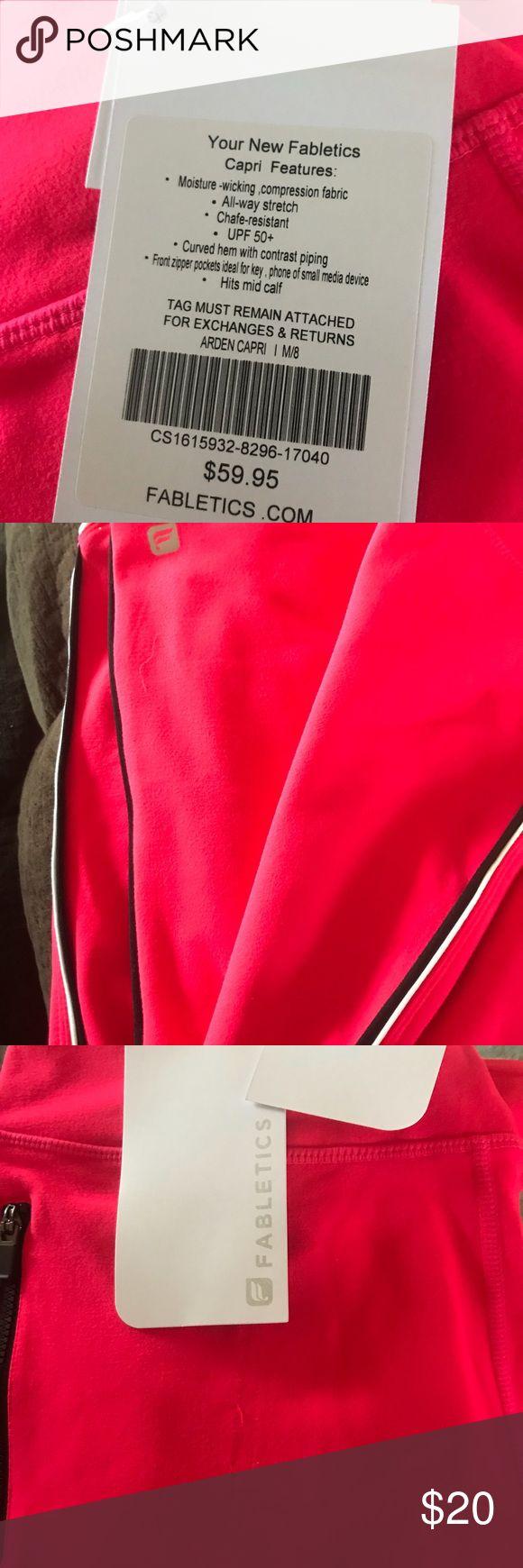 Pink Fabletics Arden Capris Pink capris with black/white side strip Fabletics Pants Capris