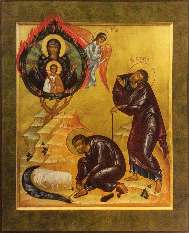 The burning bush has traditionally been interpreted as a prefiguration of the Theotokos.