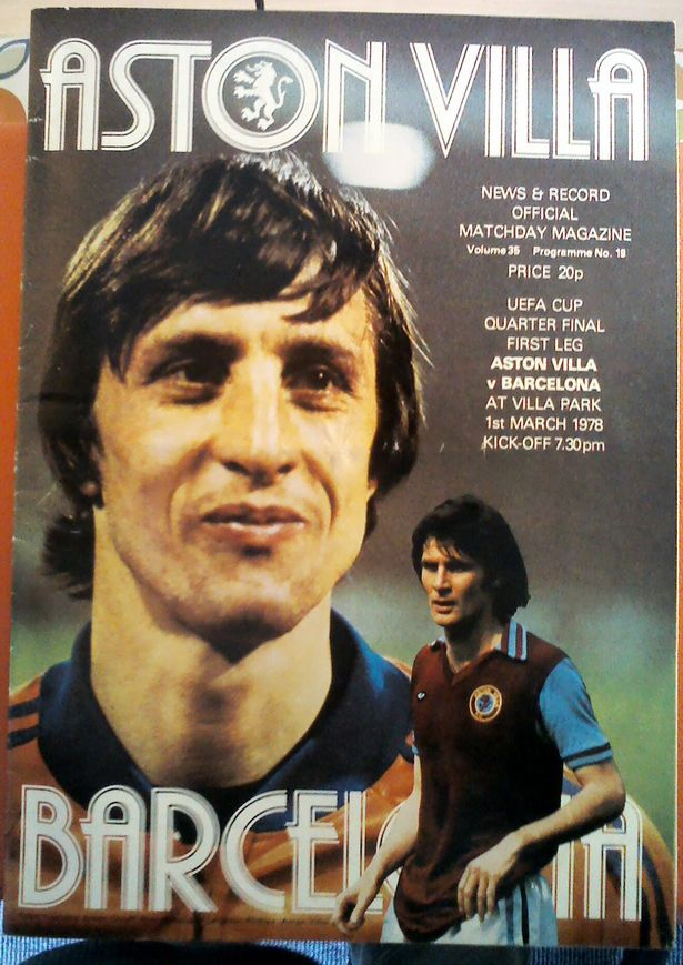 Programme from Aston Villa v Barcelona in March 1978