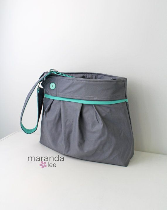 Stella Diaper Bag Large Grey With Mint And On Detail Adjule Strap Elastic Pockets Attaches To Stroller