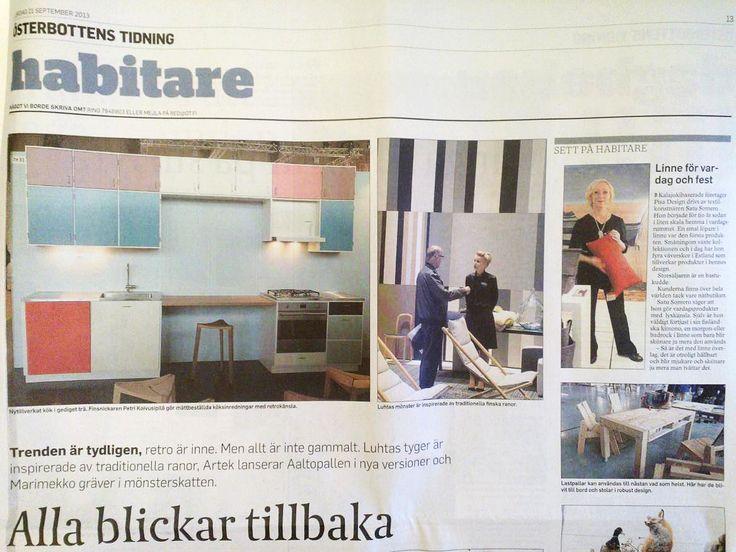 Österbottens tidning newspaper had chosen Pisa Design's Satu for their Habitare theme page. September 2013.  Österbottens tidningissä oli Habitare-aiheiselle teemasivulle poimittu kuva Satusta Pisa Designin Habitare-messuosastolla. Syyskuu 2013