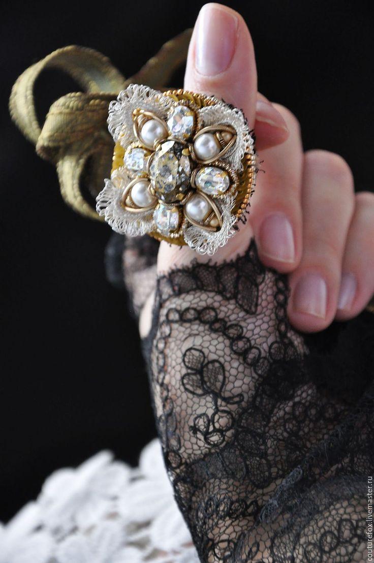 """Купить Коктейльное кольцо """"La Splendeur"""" - золотой, серебряный, жемчужный, черный, коктейльное кольцо"""