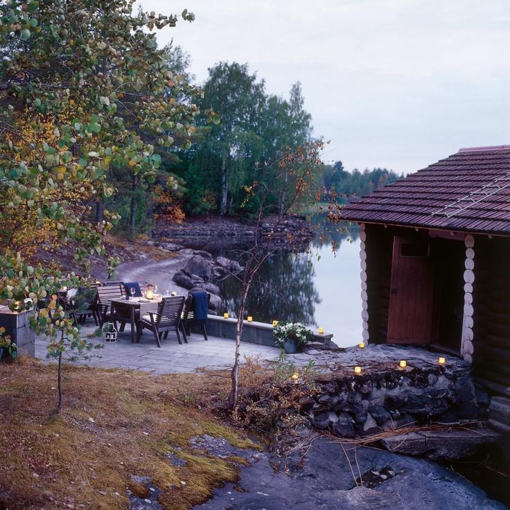 Image by Tulikivi - Photobucket. Sauna by the lake Pielinen, Juuka Finland.