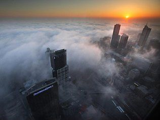 Fog in City of Melbourne at Sunrise from Eureka Skydeck. Victoria. #Australia.