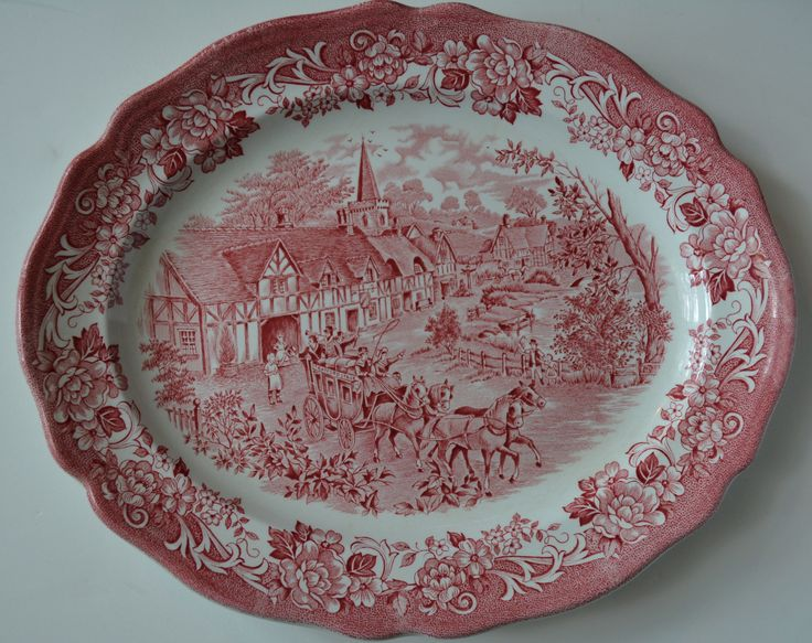 Red Transferware Platter Travelers Horses Children Roses English China: