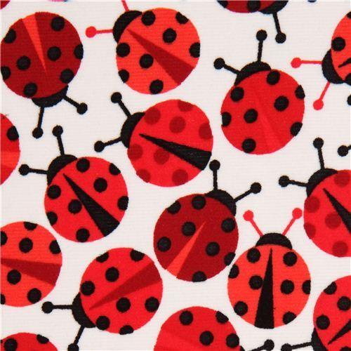 white ladybird corduroy fabric Robert Kaufman USA