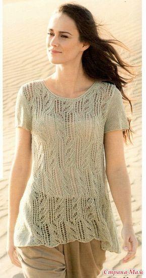 Расклешенный ажурный пуловер с короткими рукавами. Спицы.