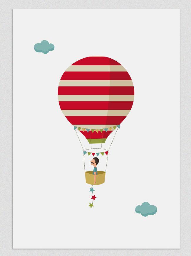 Illustration.five weeks in a balloon (boy). $18.00, via Etsy.