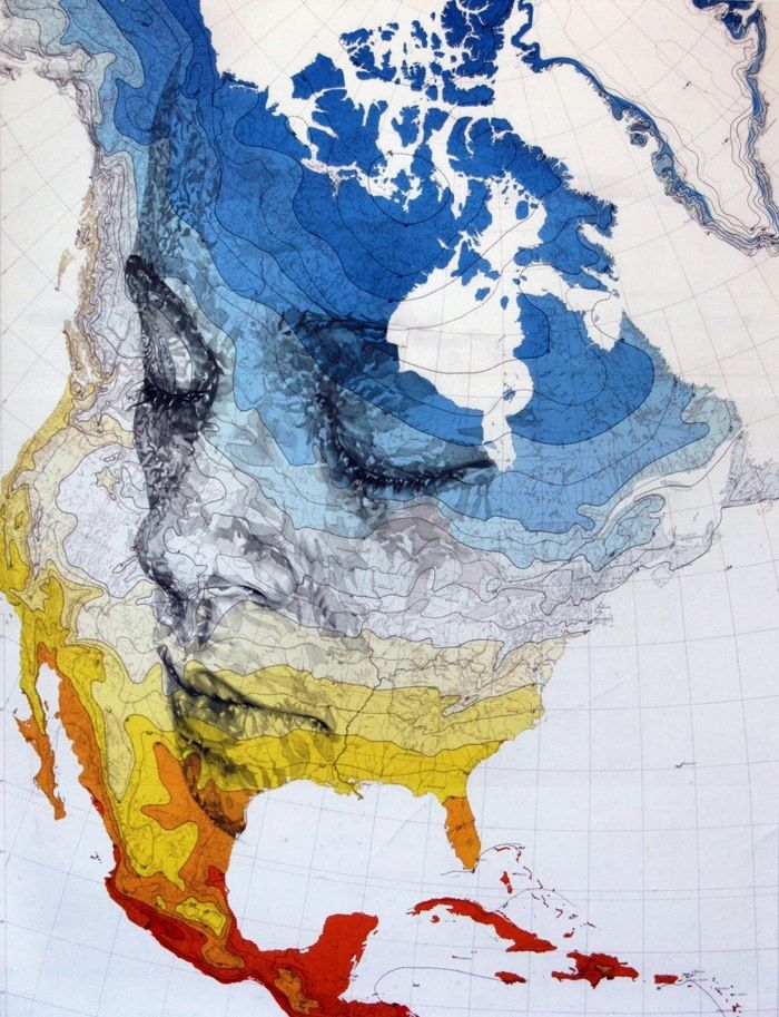 drawing on a map by Artist Ed Fairburn