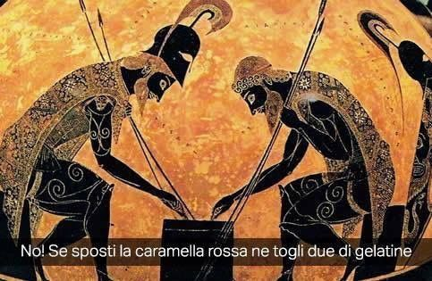 "Exekias . "" Achille e Aiace che giocano a dadi """