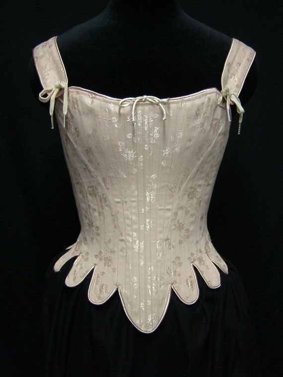 PeriodCorsets | 18th Century Marie Antoinette Corset Stays in brocade, cotton, or satin coutils| This corset is rigidly boned with closely spaced 1/4 steel bones. The corset is cut to enhance and lift the bust, and shape the waist.