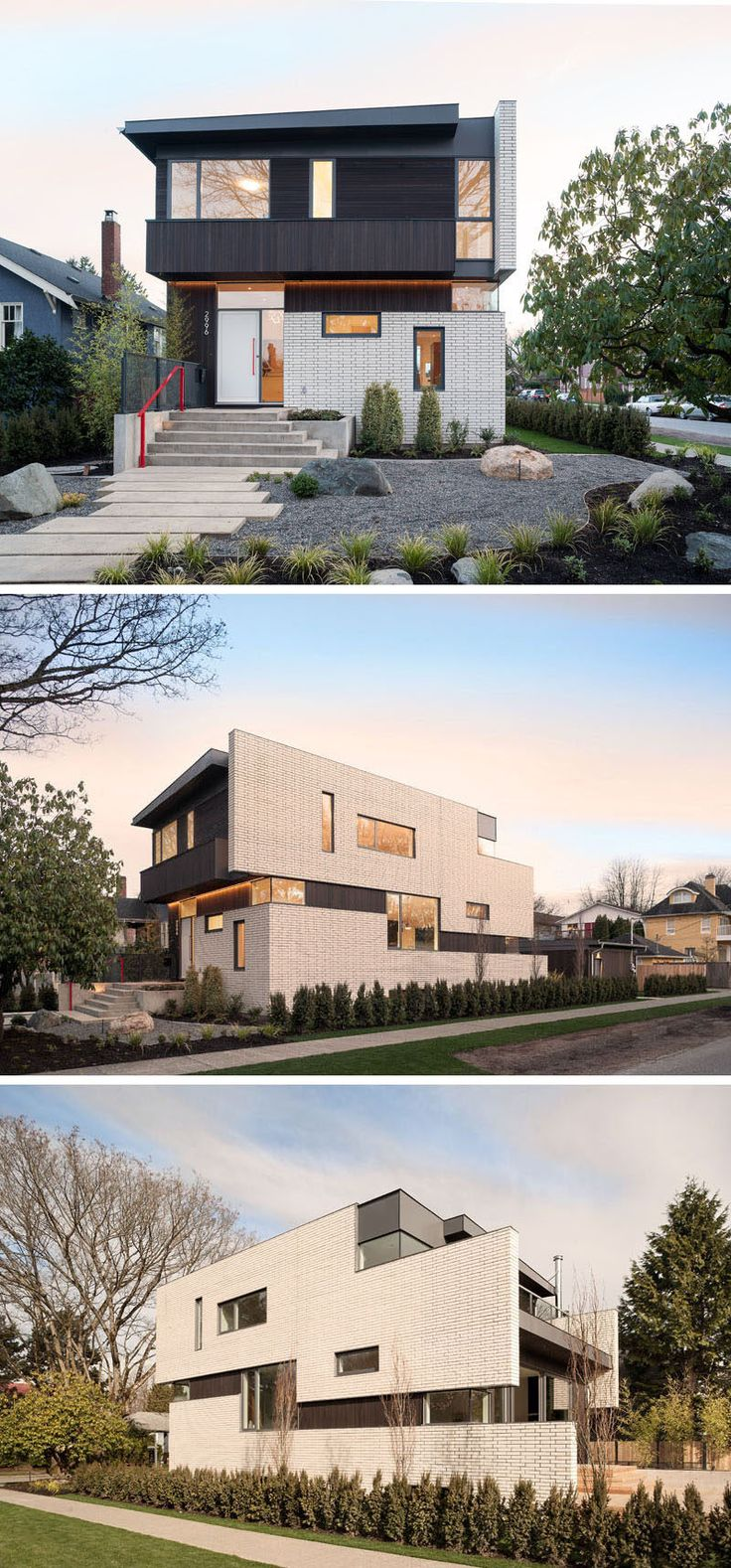 14 Modern Houses Made Of Brick // White bricks cover much of the exterior of this home and contrast the dark cedar siding and metal trim also included in the exterior design.