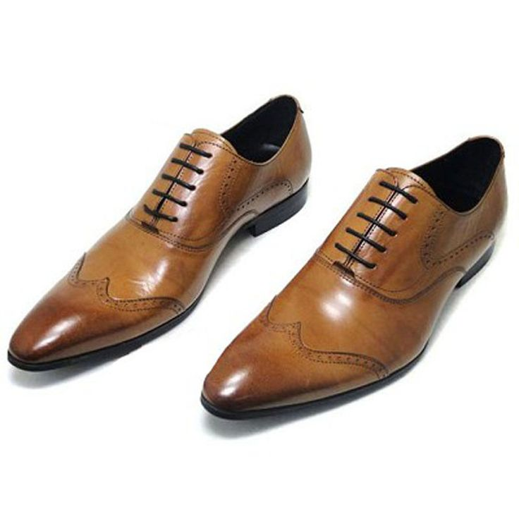 Fulinken New Genuine Leather Men Oxford Brogue  Slip On Boots Formal dress Shoes #Fulinken #Oxfords
