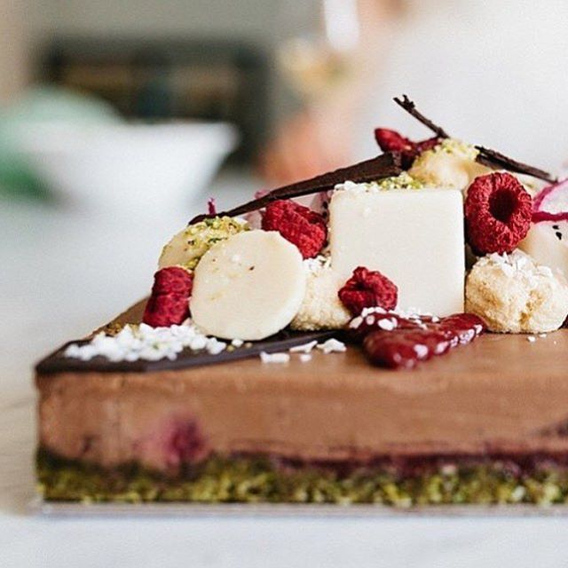 """""""Raspberry mousse with a matcha ginger crust and white chocolate, raspberry and chocolate swirl topping  @pana_chocolate Zen creation. Tag a friend…""""www.zengreentea.com.au  #matcha #superfood"""