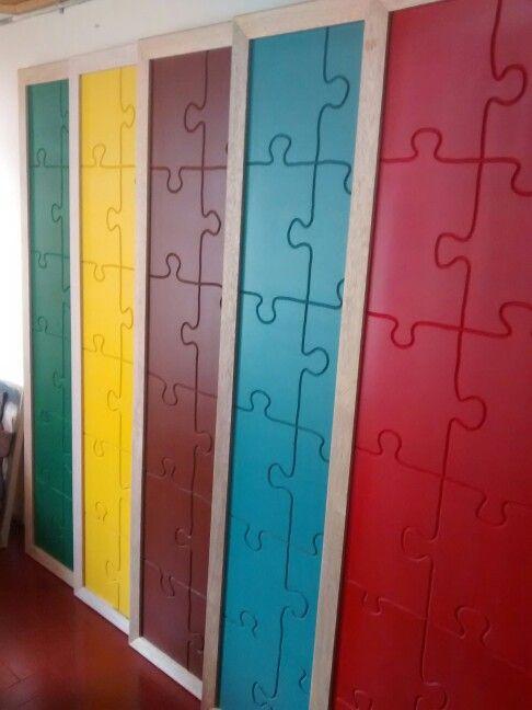 Tableros para instituciones escolares, ornamentación y carpintería institucional… school applications, woodwork for schools. Tableros con forma de rompecabezas, shaped puzzle boards.