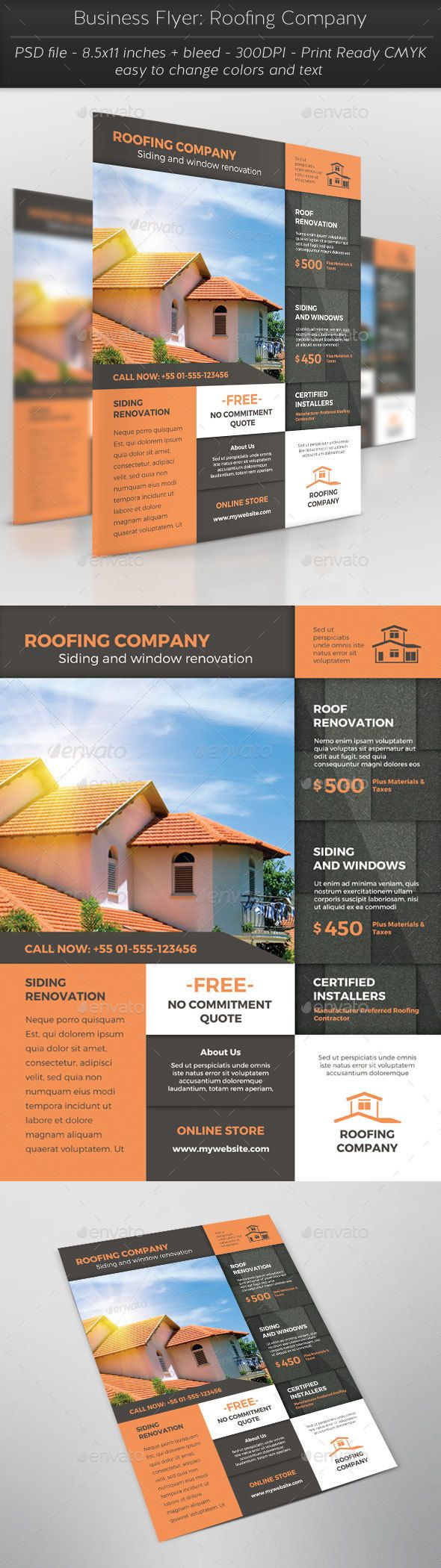 Business Flyer: Roofing Company - Flyers Print Template PSD. Download here: http://graphicriver.net/item/business-flyer-roofing-company/16701434?s_rank=303&ref=yinkira