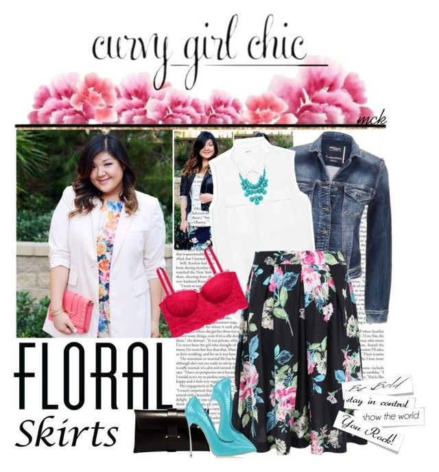 """""""Floral skirts with Curvy Girl Chic!"""" by mariakrt85 ❤ liked on Polyvore featuring maurices, Helmut Lang, H&M, Jil Sander, Casadei and FOSSIL"""