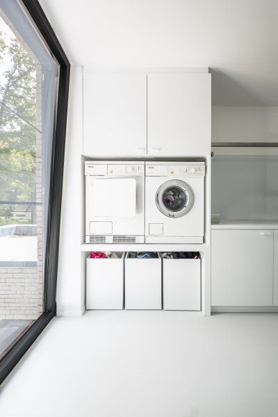 Less modern, but same set up with washer/dryer and…
