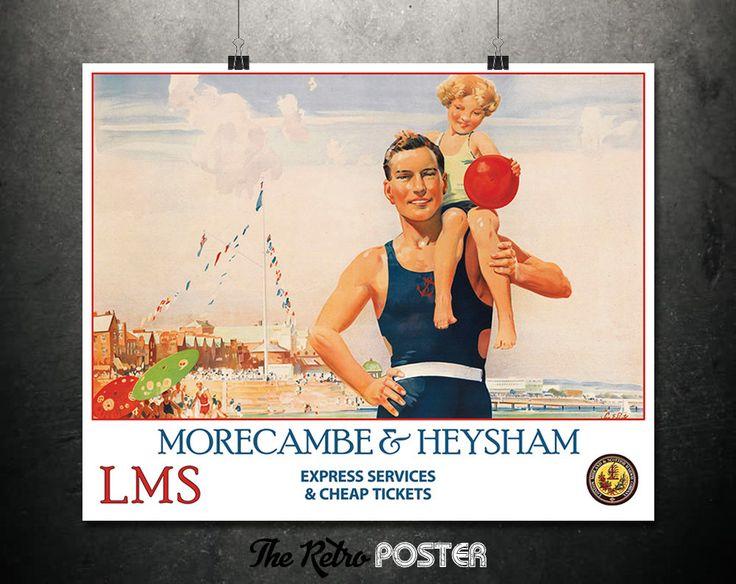Morecambe & Heysham - London Midland Scotland - Railway Prints, British Railway Posters, Travel Poster England, Beach Art Print, Summer Art by TheRetroPoster on Etsy