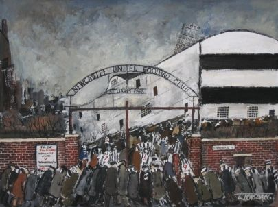 Black & White by Malcolm Teasdale St James' Park as it was during the sucessful 1950/51 season. Signed limited edition mounted print