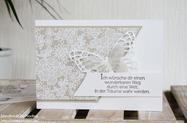 Stampin Up Konfirmation Kommunion Karte Grusskarte Stempelmami Nadine Koeller Greeting Card Stempelset Welt der Traeume Designerpapier Trau Dich Thinlits Form Schmetterlinge 013