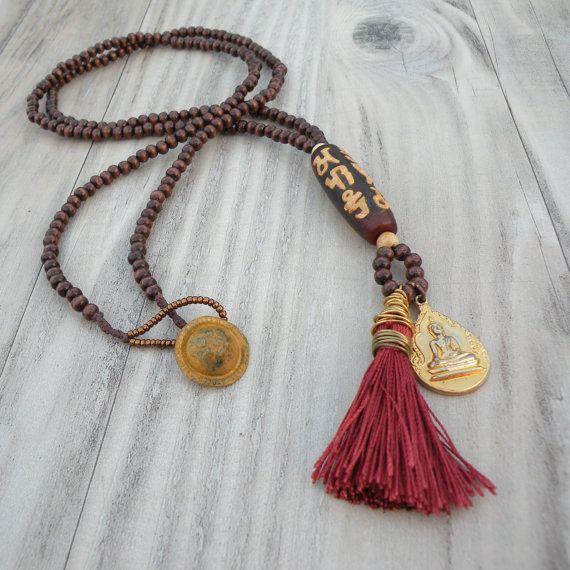 Long Mala Tassel Necklace, Rust and Brown, Om Mani Padme Hum Dzi Bead, Buddha Amulet