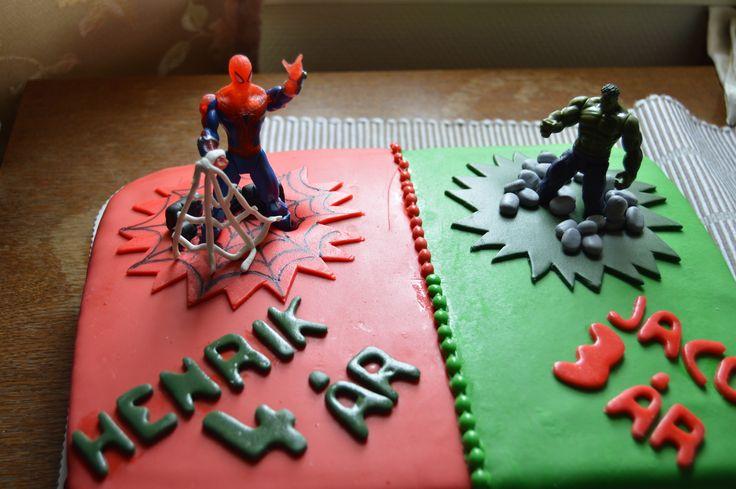 Spiderman and Hulk chocolate cake