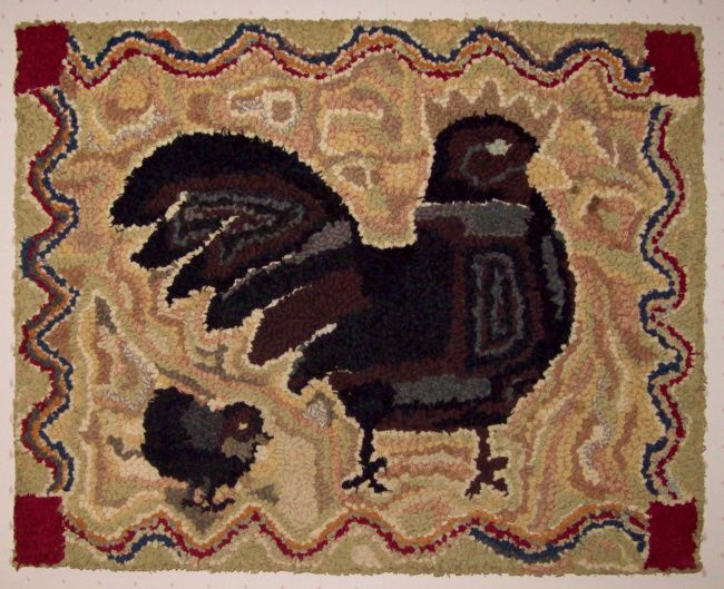 Very Folky Hooked Rug With Two Kittens In The Middle Of A Variegated And  Chain Background, Surrounded By A Black Border.