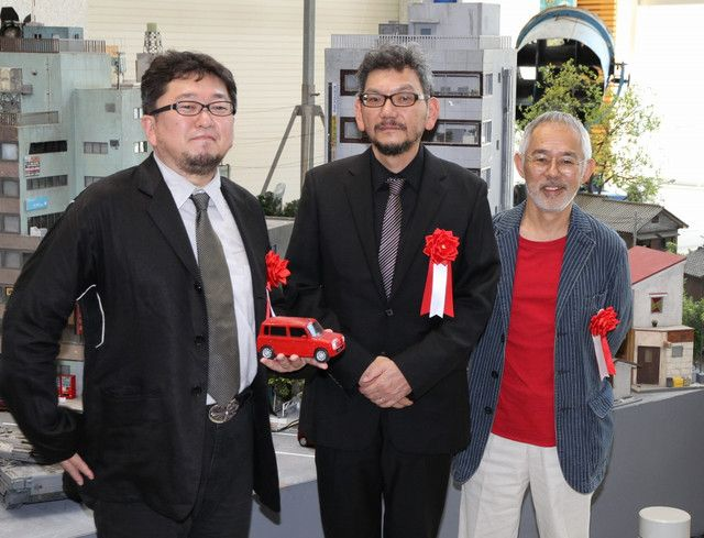 from the right: Shinji Higuchi (God Warrior Attacks director - also a key member of Daicon/Gainax member, who made a significant contribution to Evangelion - also special effects director on the 90's Gamera trilogy and director on the 2006 version of The Sinking of Japan), Hideaki Anno and Studio Ghibli producer/CEO  Toshio Suzuki (A Look Inside Hideaki Anno's Tokusatsu Exhibit) http://www.crunchyroll.com/anime-news/2012/07/15/a-look-inside-hideaki-annos-tokusatsu-exhibit