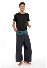 Pantalon Thaï Fisherman Latika noir turquoise - FZ1320 - 100% pur coton du Népal tissé comme du lin.