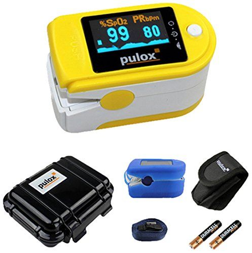 Pulsoximeter PULOX PO-200 mit OLED-Anzeige * Farbe: gelb   34€