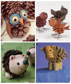 Decorating with Pinecone Crafts. painted-animals