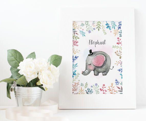 watercolor elephant animal print kids printable poster