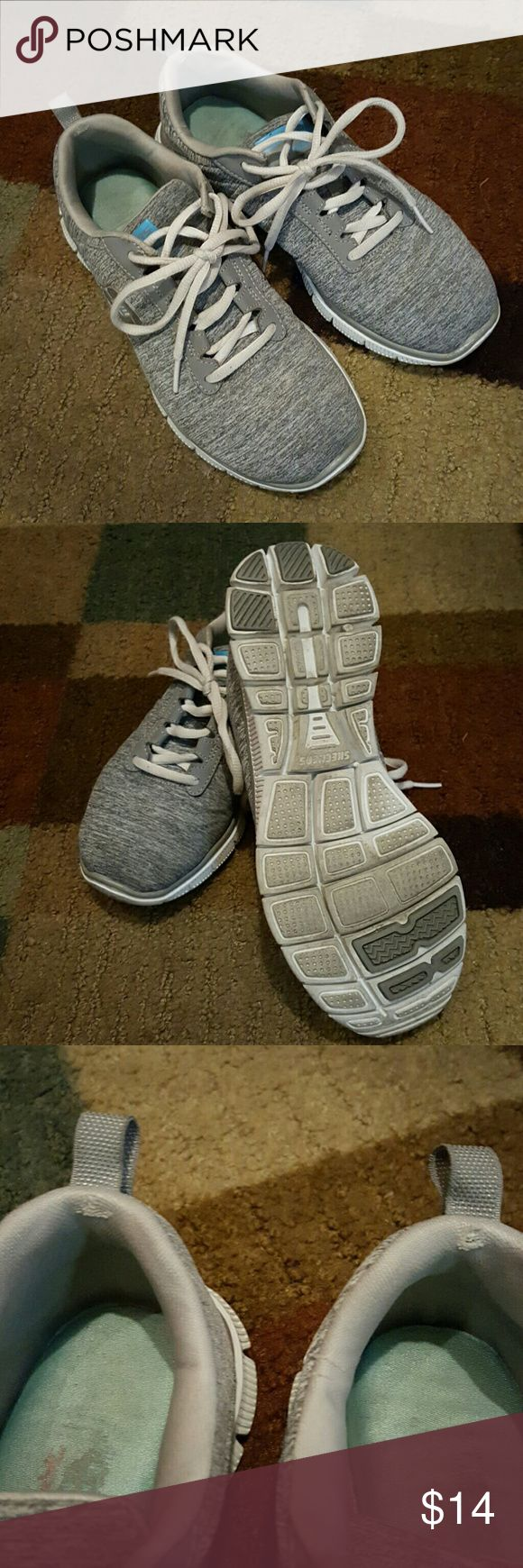 Good used condition memory foam Skechers shoes Super comfortable. Heather grey tshirt like material. Love them...i have another pair. Skechers Shoes Sneakers